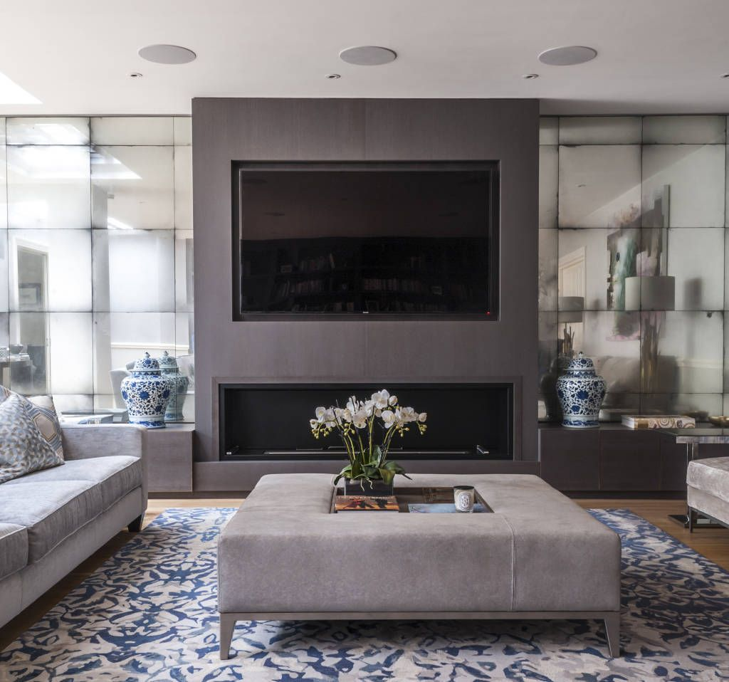 Modern Living Room With Fireplace modern living room photos: antiqued mirror alcoves to fireplace