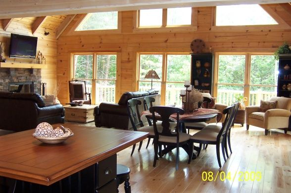 log cabin great room photos | Log Cabin Great Room, Interior of our recently built log cabin., View ...