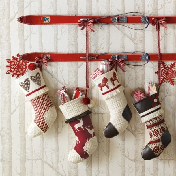 Nordic Ski Kit Christmas Wall Decoration Big Handmade Hanging Gift Socks Christmas Decorations Rustic Christmas Stockings Diy Christmas Stockings