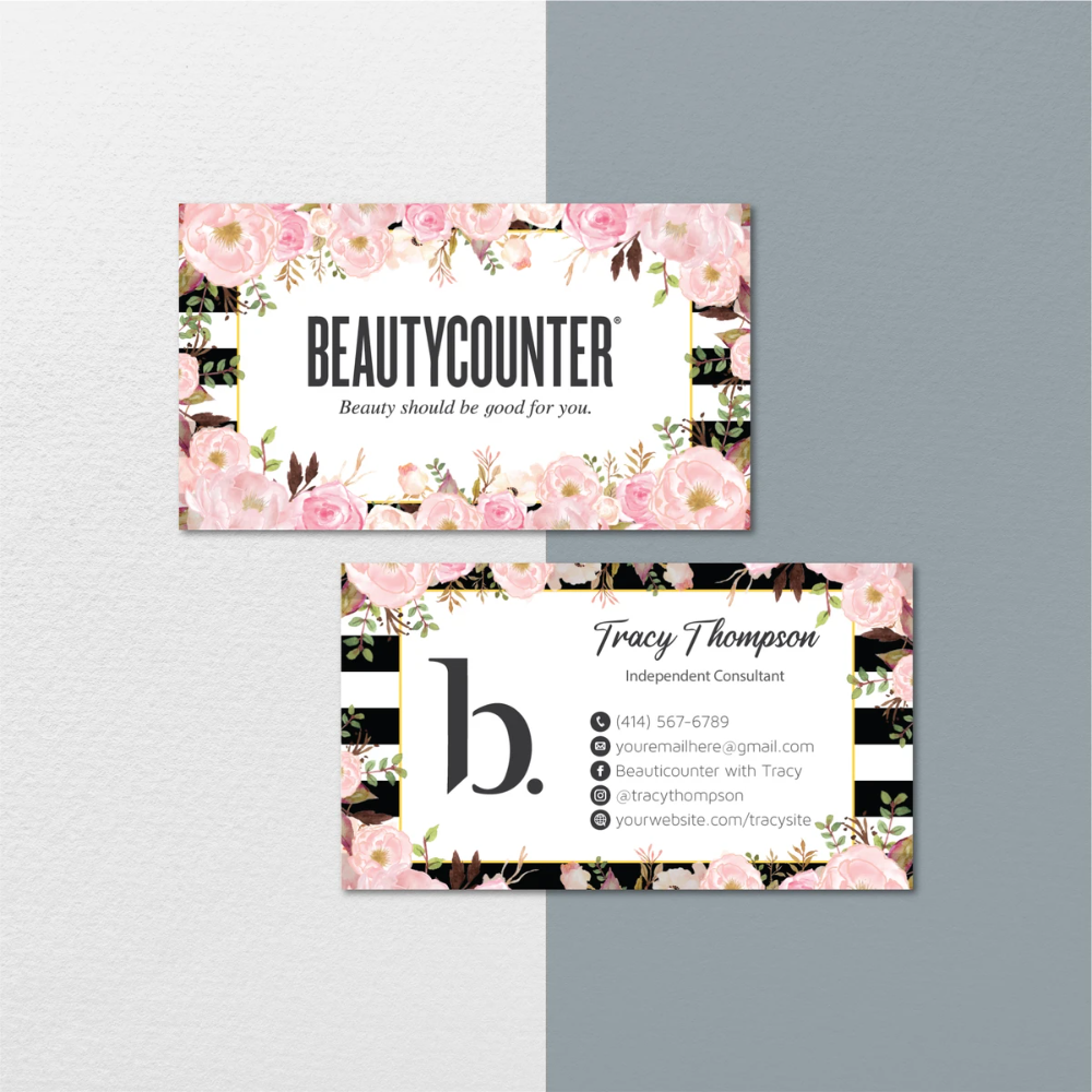 Floral Beautycounter Business Cards Personalized Beautycounter Cards Bc103 In 2020 Beautycounter Business Printable Cards Floral Business Cards