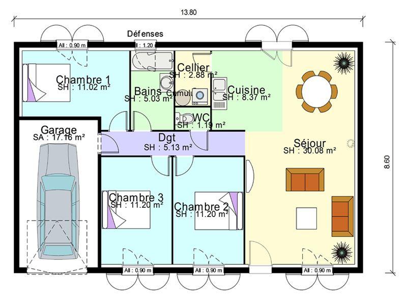 plan de masse de maison avec 3 chambres salon, cuisine et salle à