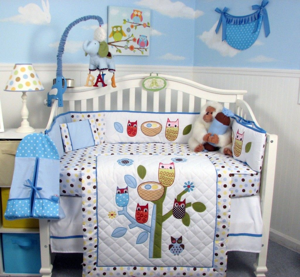 Soho Blue Owl Tree Baby Crib Nursery Bedding Set 13 Pcs Included Diaper Bag With Changing Pad Bottle Case Forest Buddy