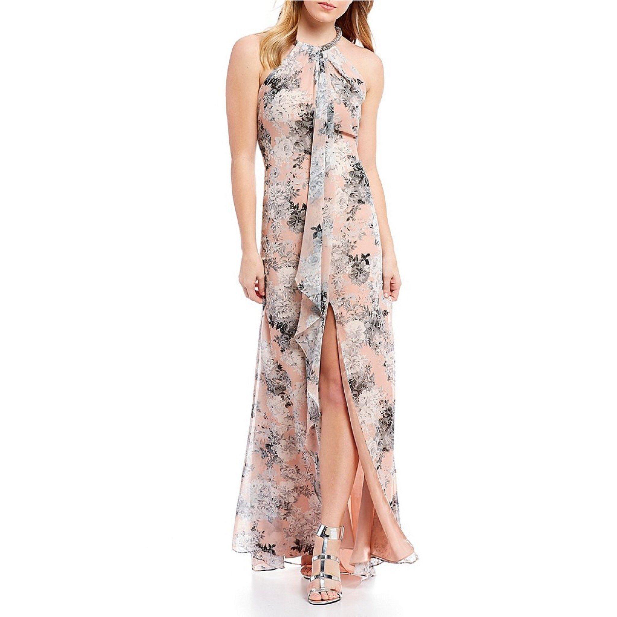 13c277deb3 Calvin Klein blush   gray floral dress
