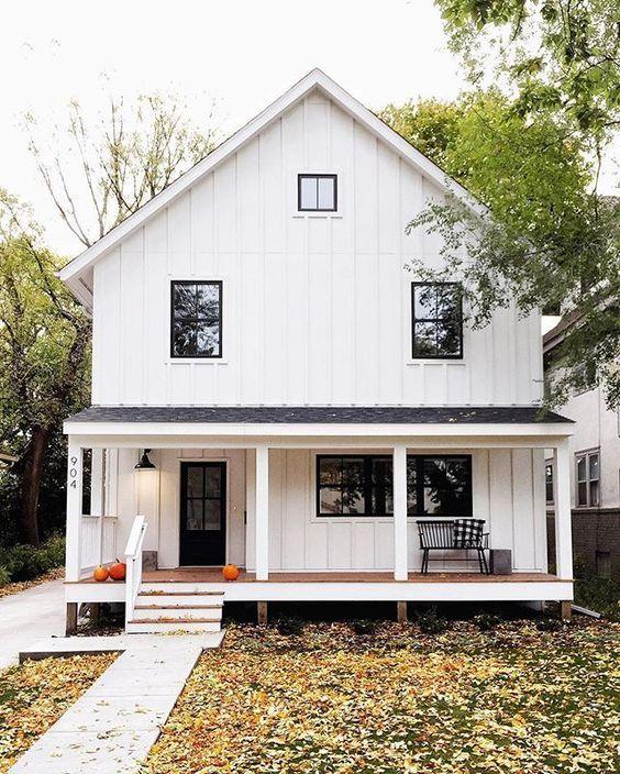 Modern House Siding Ideas: White Board And Batten Vinyl Vertical Siding, Black Framed