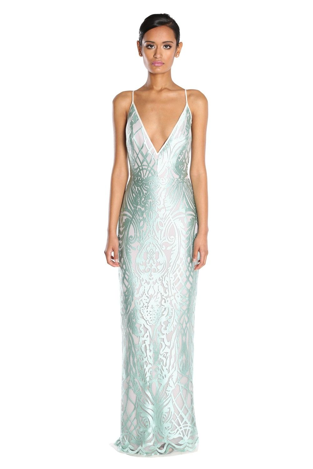 Sea Lace Gown w/ Plunging Neckline | Shop Dresses from ABS by Allen ...