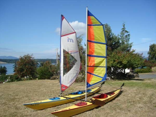 Two Fiberglass EasyRider Eskimo Kayaks with Batwing Sails ...