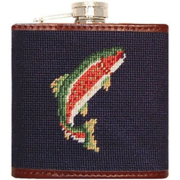Trout and Fly Needlepoint Flask by Smathers & Branson