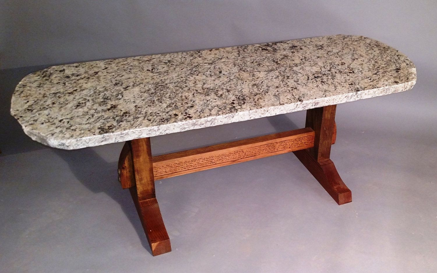 Granite Natural Edge Coffee Table with Pyrographic Designs,granite table,stone table,trestle table,pyrography,rustic,modern,handmade table by SpearheadFurniture on Etsy