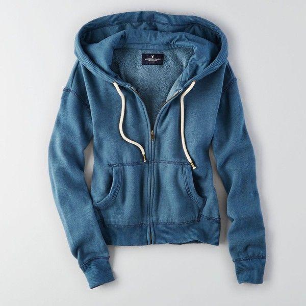 AEO Zip-Up Hoodie ($25) ❤ liked on Polyvore featuring tops, hoodies, blue, zip up hooded sweatshirt, hoodie top, tie top, zip up top and zip up hoodie
