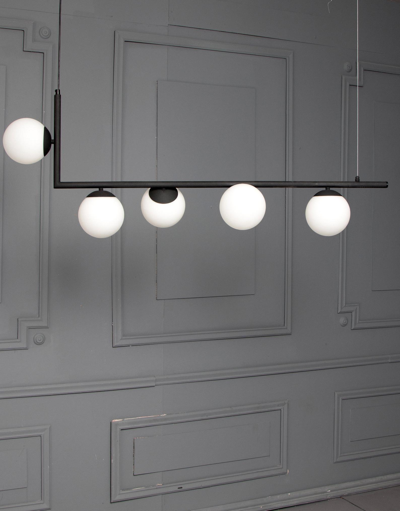 Maira Corner Opal Globes Pendant Light Geometric Minimal Dinning Linear Modern Globe Pendant Light Dining Table Lighting Linear Pendant Lighting