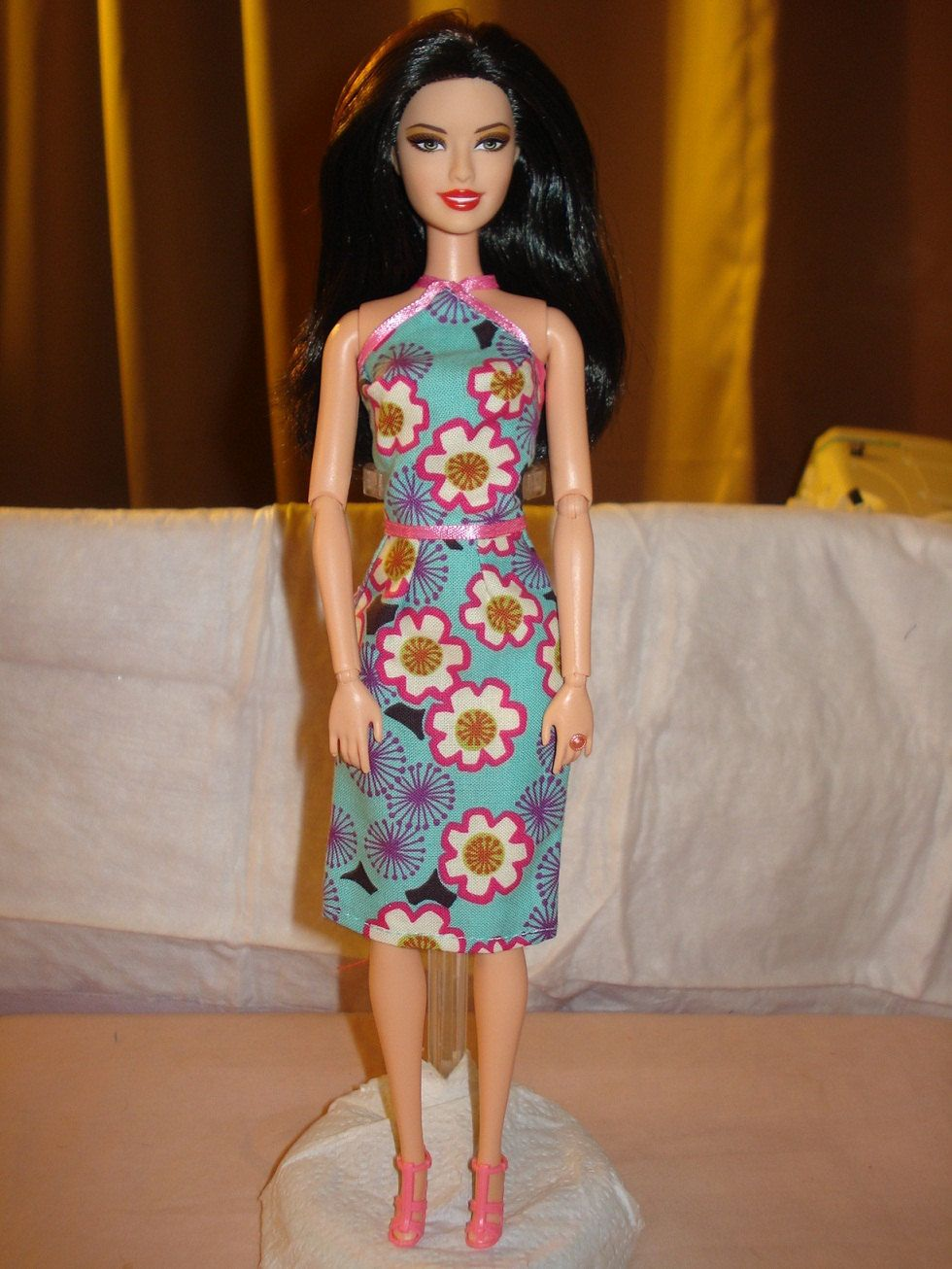 Agua and pink floral top and skirt set for Barbie Dolls - ed293. $7.00, via Etsy.