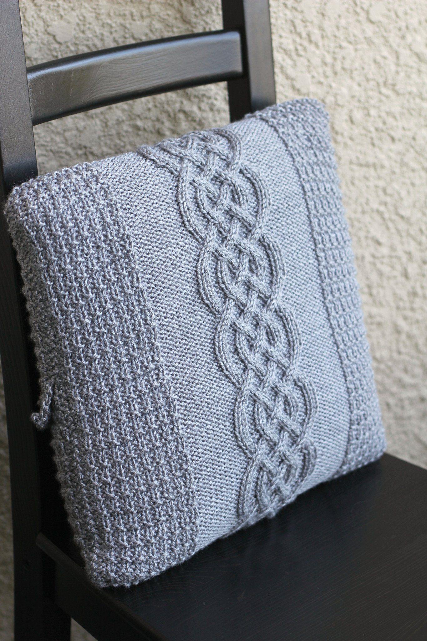 Knitting patterns - 2 knit pillowcase patterns bundle ...