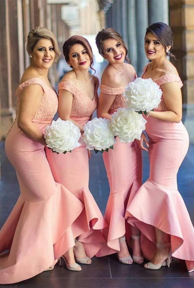 Newest Pink Off-the-shoulder Mermaid Lace Hi-Lo Bridesmaid Dress ...