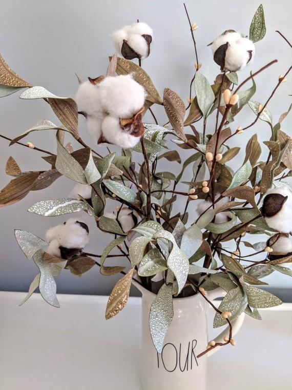 Cotton Stem Spring Arrangement Spring Cotton Cotton Boll Cotton With Leaves Cotton Pick Cotton Cotton Stems Cotton Boll Cotton Decor