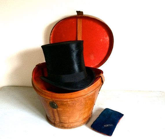 French 1910s A Berteil Leather Hat Box With Top Hat With Etsy Leather Hats Hat Box French Hat
