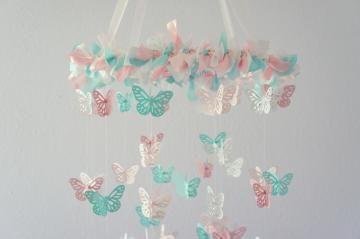 Pink & Aqua Nursery Butterfly Mobile- Nursery Decor, Crib Mobile, Baby Shower Gift by LovebugLullabies for $63.00