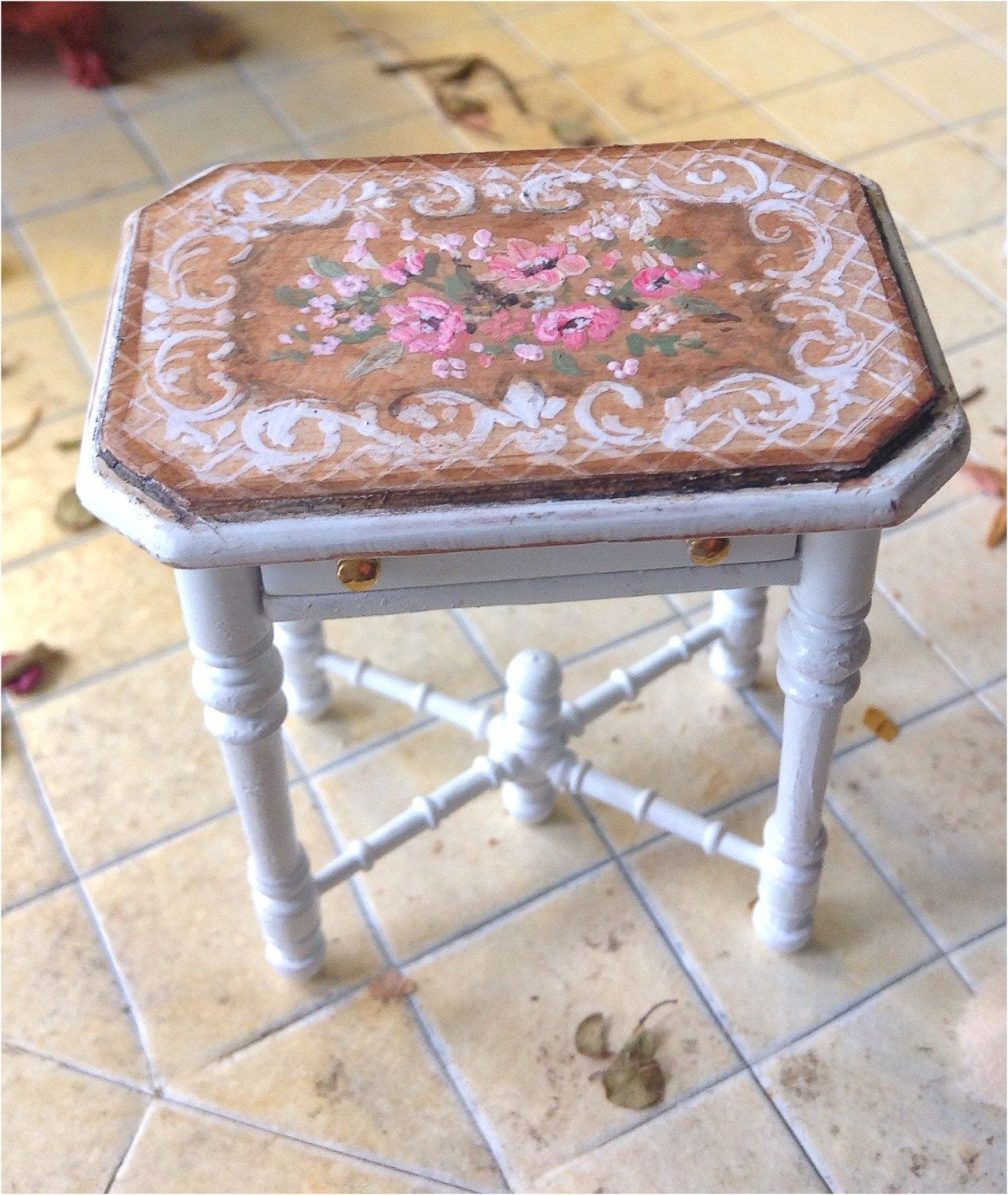 French white/pink side table by MaritzaMiniatures on Etsy