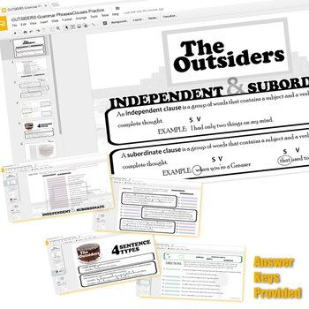 THE OUTSIDERS Phrases Clauses And Sentence Types Created