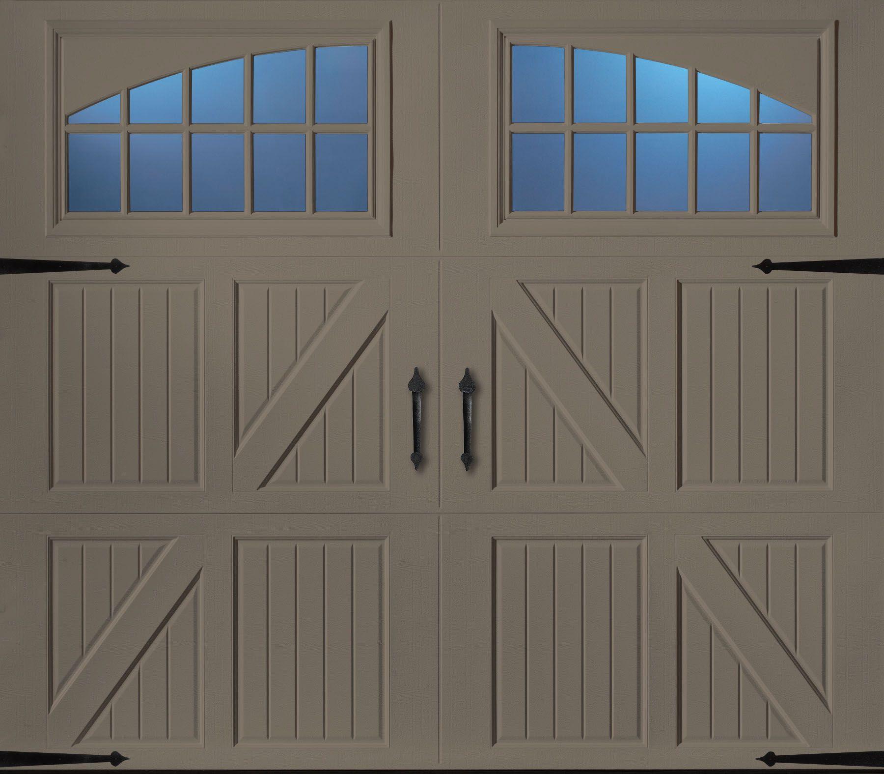 Classica northampton garage door white 9 x 8 no windows - Garage Door Amarr Tuscany W Seine Glass In Terratone