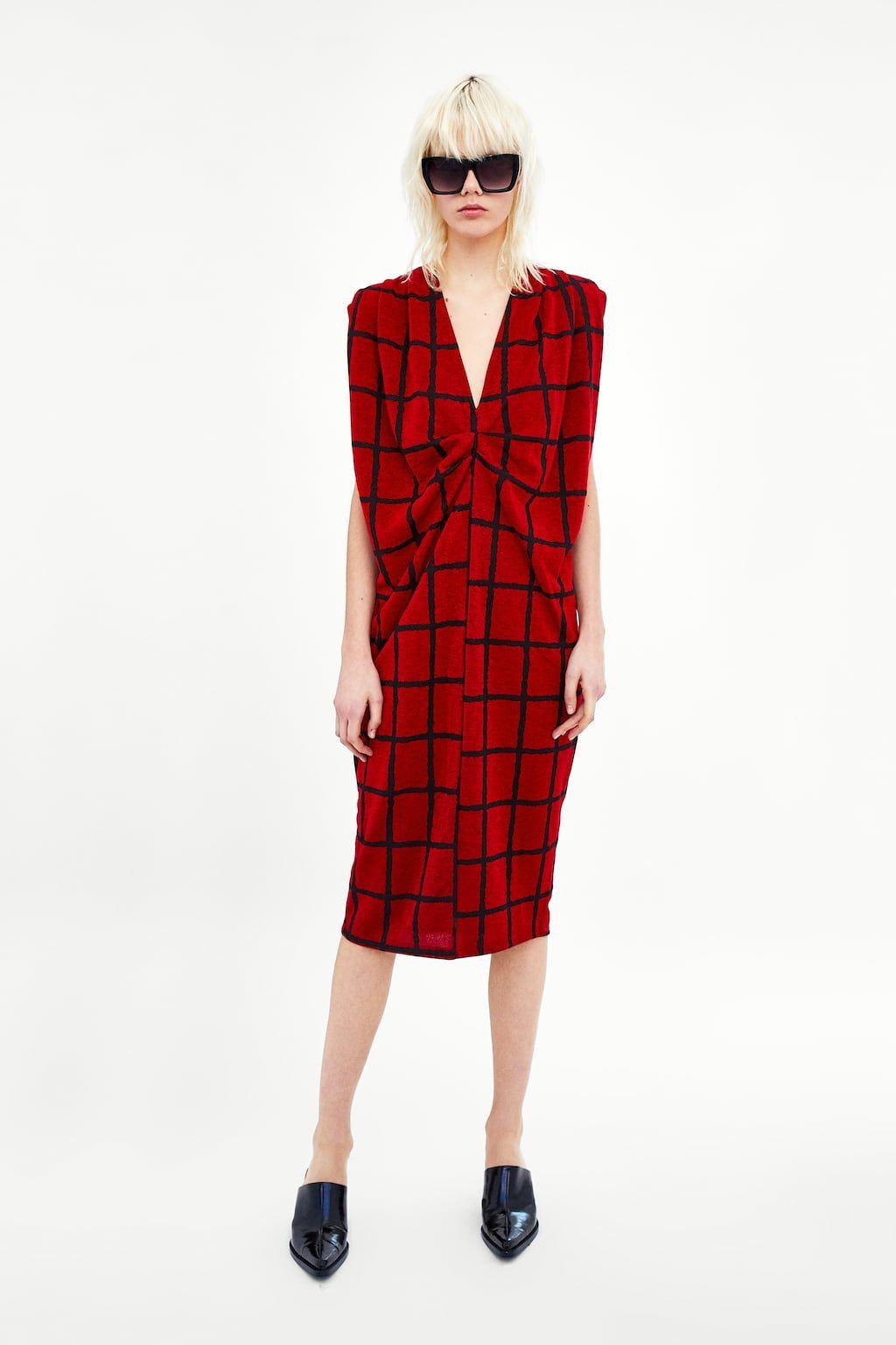 Vestido Cuadros Pliegue Hombros Tuch Kariertes Kleid Modestil