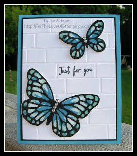 The Love of Stamping~: Watercolor Wings & Brick Wall Embossing Folder