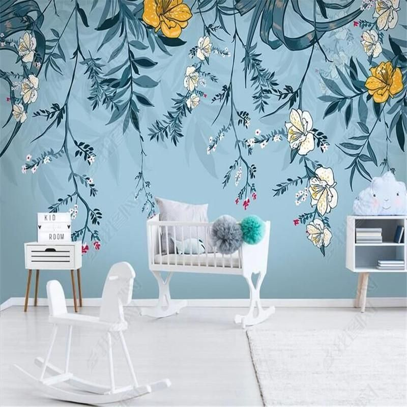 Nordic Style Blue Floral Wallpaper Mural for Kid's Room or