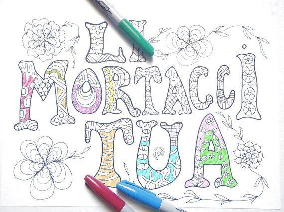 Sweary Word Colouring Book Li Mortacci Tua Rome Roman Italian Mature Adult Coloring Swear Curse