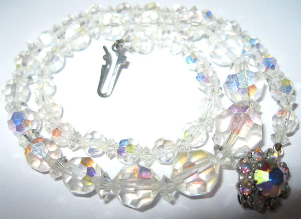 Vintage 1950 S Rainbow Glass Crystal Aurora Borealis Ab Bead Graduated Necklace Rainbow Glass Crystals Graduation Necklace Crystal Necklace