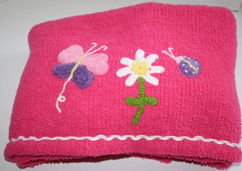 Okie Dokie Pink Chenille Baby Girl's Blanket BUTTERFLY, FLOWER and LADYBUG stitched at bottom. Pretty Soft Plush material #OkieDokie