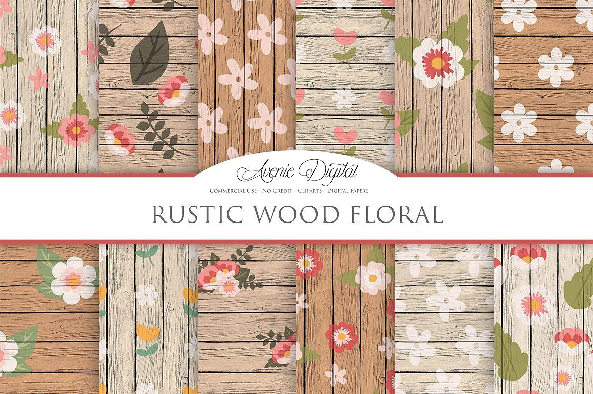 Rustic Wood Floral Backgrounds Packs Blog Backgrounds Party
