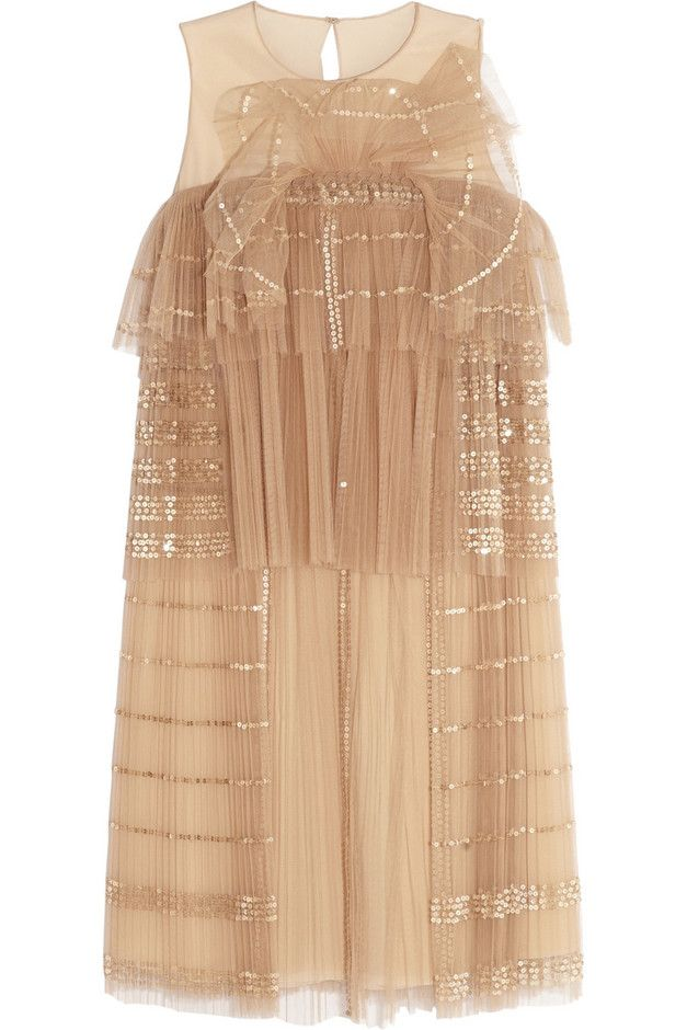 Chloé : Sequined tiered tulle dress