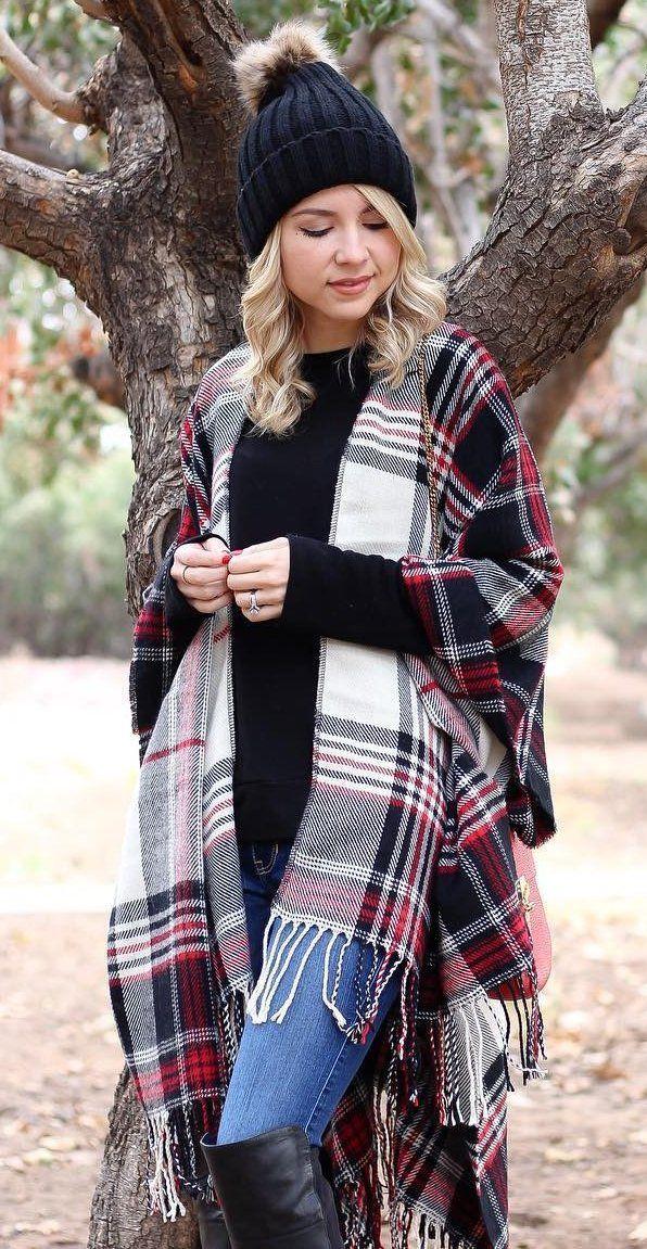 #winter #fashion /  Black Beanie + Plaid Cape + Black Knit