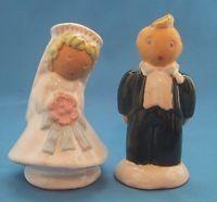 Vintage SORCHA BORU BRIDE & GROOM Salt and Pepper Shakers Ceramic Figurines