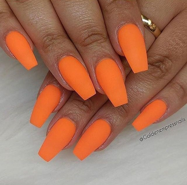 Matte Orange Coffin Nails Orange Nails Orange Acrylic Nails Orange Nail Designs