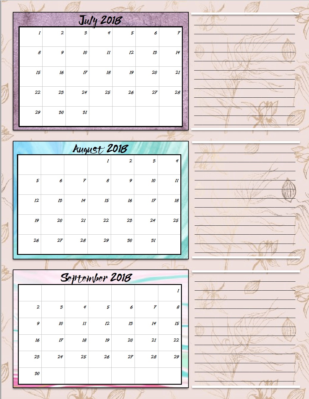 free printable 2018 quarterly calendars 2 designs these free printable 2018 calendars are great for in planners hanging and more
