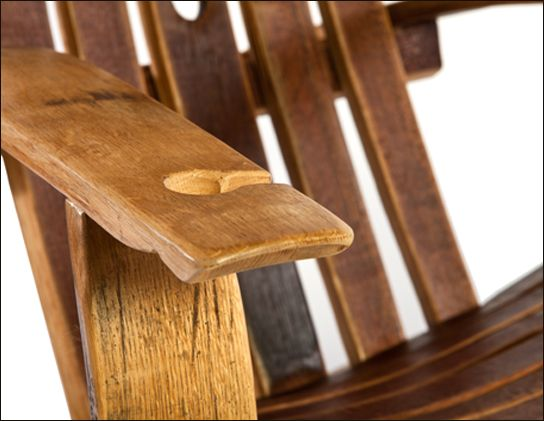 Heritage Handcrafted S Wine Barrel Stave Adirondack Chair Comes Equipped With A Gl Holder