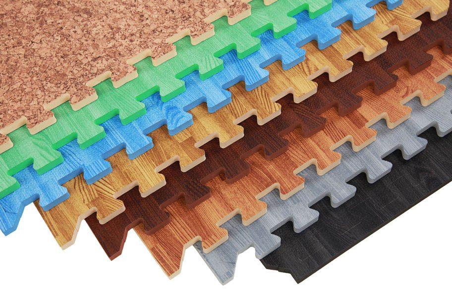 "5/8"" Premium Soft Wood Tiles Basement Flooring Ideas in"