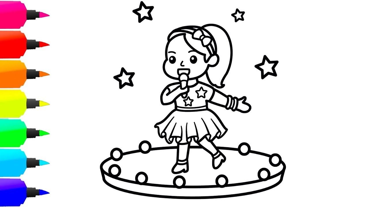 How To Draw A Baby Singer For Kids Dream Singer Coloring Page For Kids Coloring Pages For Kids Coloring Pages Cartoon Drawings