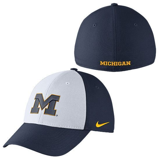 23afd7d55566 ... germany nike university of michigan white and navy classic99 dri fit  swoosh flex hat a6e36 5154f