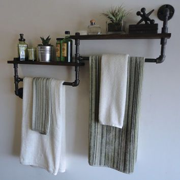 Industrial Bathroom Shelf / Towel rack combo the \