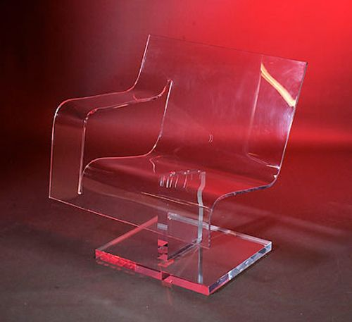 """CLEAR THINKING CHAIR    Materials: Clear acrylic  Dimensions: 31""""W x 21""""D x 32""""H (18"""" seat height, 1/2"""" thick acrylic, 2"""" thick base)    Options: Clear, color, or frosted acrylic / Swivel or stationary base"""