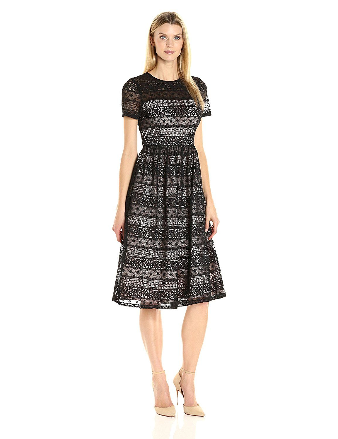 Maggy London Women\'s Victorian Stripe Lace Fit and Flare *** To view ...