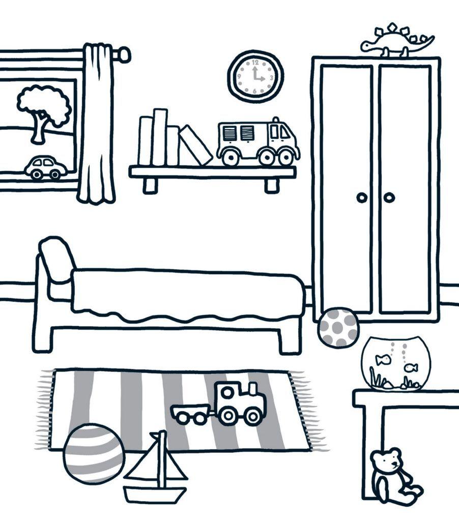 Clean Bedroom Coloring Sheet Bedroom Drawing Preschool Colors Drawing For Kids