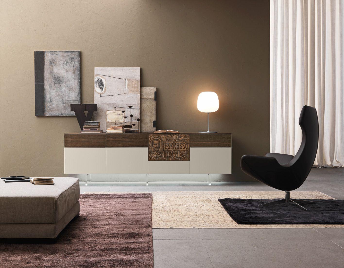 PRESOTTO | Sideboard in matt beige seta lacquer with ...