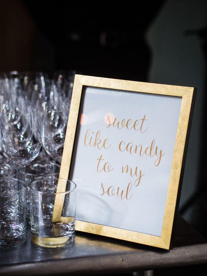 """Sweet like candy to my soul"" wedding sign: http://www.stylemepretty.com/new-york-weddings/new-york-city/queens/2015/11/30/glamour-meets-rustic-nyc-summer-wedding/   Photography: W Studios New York - http://wstudiosnewyork.com/"