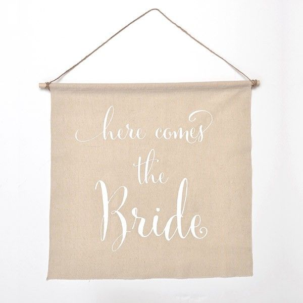 Here Comes the Bride Linen Banner