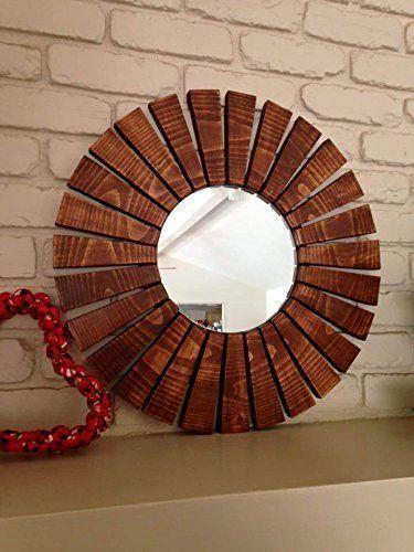 Wood Framed Wall Mirrors sunburst wall mirror round handmade special walnut wood frame