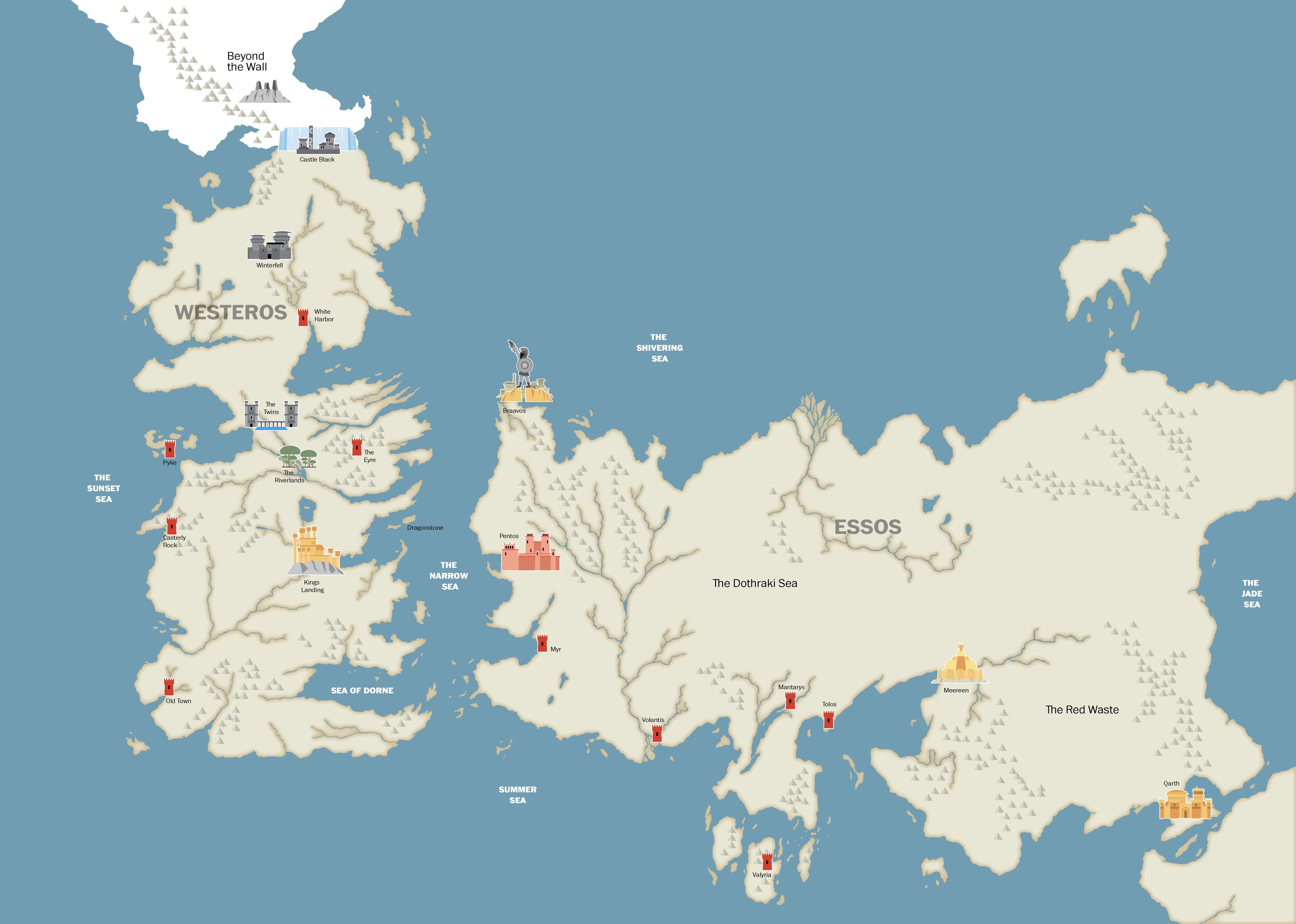 carte trone de fer Carte géographique du monde fictif du