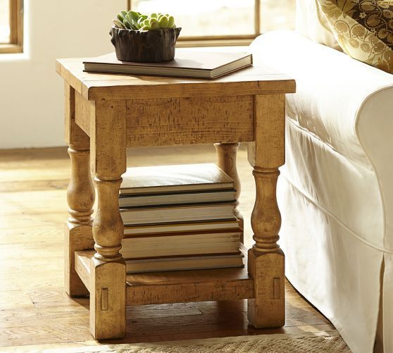 Cortona Side Table Pottery Barn Finished By Hand In Vintage Spruce And Sealed For Lasting Beauty Home Decor Sale Home Furniture Home Decor