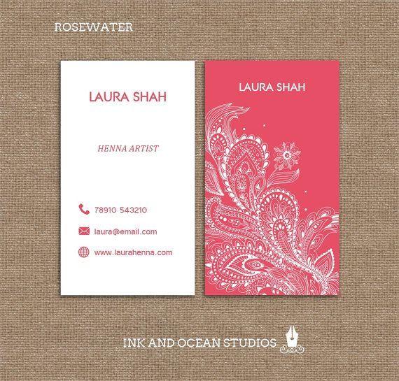 Printable Stylish Elegant Henna Style Boho Vintage Business Card
